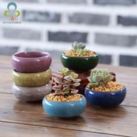 Wholesale ceramic pots for flowers resale online - 12Pcs Ice Crack Ceramic Flower Pots For Juicy Plants Small Bonsai Pot Home and Garden Decor Mini Succulent Plant Pots CJ191226