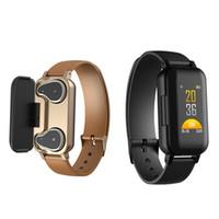 спортивный смарт-браслет bluetooth оптовых-Смарт-браслет T89 TWS Наушники Bluetooth-наушники Фитнес-трекер Браслет сердечного ритма Спортивные часы Android-смартфоны