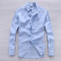 Italy pure linen shirts men summer long sleeve men shirt solid casual shirts man classic shirt mens flax chemise