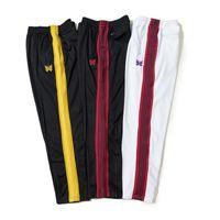 pantalons de survêtement achat en gros de-Nouveau AWGE Pantalons de survêtement Femmes Hommes 1a: 1 Meilleure Qualité Papillon Broderie Cordon Pantalon de survêtement Bouton Zip AWGE Aiguilles Pantalon de survêtement