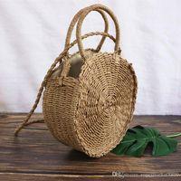 Wholesale handmade crochet handbags resale online - Handmade Rattan Totes Woven Round Handbag Vintage Retro Straw Rope Knitted Messenger Bag Lady Fresh Paper Bag Summer Beach Tote