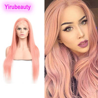 Wholesale light pink human hair wigs resale online - Malaysian Human Hair X4 Lace Front Wigs Straight Light Pink Blue Red Lace Front Wigs With Baby Hair Pure Color inch