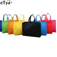 alışveriş torbası katlanabilir torba çantası toptan satış-eTya Kadınlar Katlanabilir Alışveriş Çantası Yeniden kullanılabilir Eko Büyük Unisex Kumaş Dokumasız omuz çantaları bakkal bez çantalar Kılıfı Tote