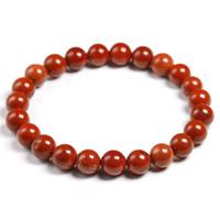 cuentas semipreciosas rojas al por mayor-Natural genuina Jaspe Rojo Ronda de piedras semi-preciosas perlas 6 8 10 pulseras MM Hombres Mujeres Healing joyería accesorios de regalo