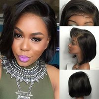 Wholesale full swiss lace human hair wigs for sale - Short Lace Front Human Hair Wigs Natural Color Human Hair Full Lace Wig Brazilian Hair Bob Wig For Black Women