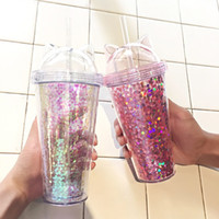 Wholesale flash cartoons resale online - Cat Ear Flashing Double Layer Cup Cute Cartoon Creative Plastic Cups Tumbler Sequin Juice Wine Bottle With Straw Gift Cup Color BH2242 CY