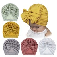 Wholesale adjustable cotton headbands resale online - Cute Baby Knotted Cap Children Warm Hat Hight Quality Newborn Elastic Cotton Baby Beanie Cap Soft Cotton New Baby Headband JJ19905