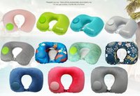 Wholesale car air cushion resale online - Inflatable U Shape Pillow Portable Travel Neck Pillow Car Air Inflatable Pillows Neck Cushion Travel Headrest Folding Pillow