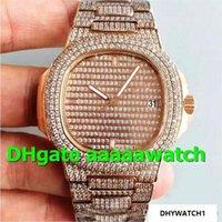 pavimentar relógios venda por atacado-New Luxury Assista 5719 / 1G-001 Assista 40.5mm Miyot 9015 Movimento Completa de Cristal De Diamante Pavimentada 18 K Rosegold Case Diamante Pavimentada pulseira Homens relógio