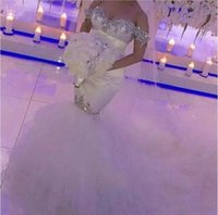 Wholesale crystal unique wedding dress resale online - 2019 New Bling Crystal Wedding Dresses Off Shoulder Mermaid Bridal Gowns Unique Cutting Robe De Mariage Backless Wedding Dress Plus Size