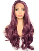 Wholesale wavy hand tied wigs resale online - Sexy Purple Lace Front Wig Long Wavy Violet Color Heat Resistant Synthetic Hair Half Hand Tied Replacement Full Wigs for Women inches