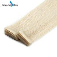 ingrosso estensioni dei capelli nastro biondo-Silanda Hair Blonde # 613 Diritto PU Extension di trama della pelle dei capelli Remy Nastro adesivo per capelli In Estensioni 20 Pz / pacco Spedizione Gratuita