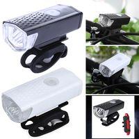 luces de advertencia recargables al por mayor-300 lumen bicicleta faros USB a prueba de agua luces de conducción destacadas luces de advertencia de bicicleta recargable faros de carga de bicicleta LJJZ42