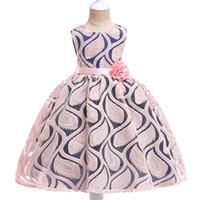 prenses kadın gelinlik toptan satış-Yaz Çocuklar Kızlar Için Elbiseler Gelinlik Çocuk Giysileri Resmi Prenses Parti Elbise Bel dekorasyon çiçek Kız Patchwork Performans