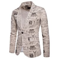 ingrosso giubbotto di vestiario-Blazer casual francese da uomo One Button men Suit Blazer Coat Jacket Printe soprabito autunno d90729