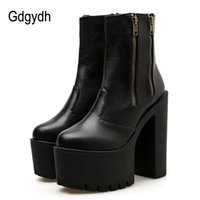 ботинки для обуви на высоком каблуке оптовых-Gdgydh 2019 Women Ankle Leather Boots Ultra High Platform Heels Black High Heels Female Shoes Rubber Sole Zipper Casual Shoes