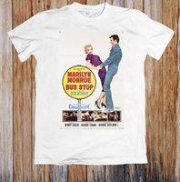 ingrosso manifesti bus-BUS STOP 50's MOVIE POSTER RETRO UNISEX T-SHIRT 2018 New Tee Print T-Shirt da uomo Top Quality Cotton stampato rotondo alla moda