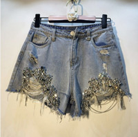 жакет-шорты для женщин оптовых-European Holes Hot Pants 2019 Spring Summer Woman's New Heavy  with Drilled Chains Jeans Shorts Lady Denim Shorts