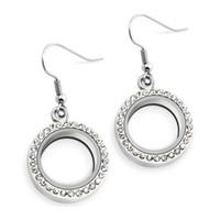 ingrosso orecchini galleggianti-1 paio di orecchini a medaglione rotondi in argento da 20 mm medaglione galleggiante in lega di zinco LSFL017-52
