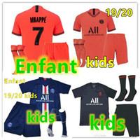 neue fußballsocken großhandel-Jordan Paris Nike New 2019 2020 psg kids kit socks soccer jersey maillot psg kids football kits 19 20 Maillot de foot psg Enfant shirt MBAPPE jersey