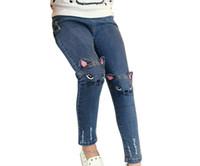 ingrosso modello jeans bambino-Cute Cartoon Pattern Kids Jeans Autunno Inverno Lovely Cat Pantaloni per bambini di alta qualità Pantaloni casual Neonate Jeans