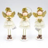 ingrosso ornamento angelo d'oro-Ala d'oro Abito bianco Angelo Decorazione natalizia Pendente 2020 Capodanno Bambola per bambini Giocattoli Decorazioni per la casa Impiccagioni Ornamenti natalizi
