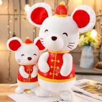 китайские новогодние украшения оптовых-Крысы Год Kawaii платье Талисман Плюшевые игрушки Мягкие игрушки Мягкие игрушки мыши Китайский Новый Год украшения Рождественский подарок детям игрушки