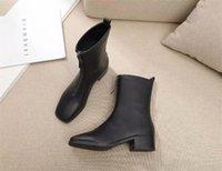 botas pretas saltos de metal venda por atacado-Preto novo couro botas de salto robusto zíper frontal das mulheres dedo do pé redondo Martin botas de fivela de metal senhoras simples botas curtas