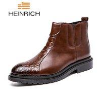 iş rahat ayakkabı satışı toptan satış-HEINRICH Sıcak Satış Rahat Ayakkabılar Erkekler Deri Çizmeler Iş Ayak Bileği Çizmeler Erkekler Coturnos Masculino Chaussures Hommes En Cuir