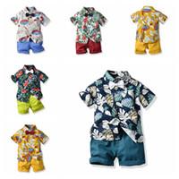 Wholesale baby boy leopard clothes for sale - Baby boy summer suit cotton short sleeve blouse shirt shorts pants children s clothing set boutiques outfits