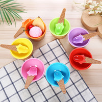 Wholesale ice cream cups bowl resale online - Cute Plastic Ice Cream Bowl With Spoon Eco Friendly Dessert Colorful tart Bowls Container Set Ice Cream Cup Children Tableware M1460