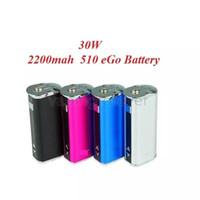 bateria azul vaporizador venda por atacado-Mini 30 W Bateria 2200 mah Variable Voltage VV Caixa VW Mod Kit Com Tela OLED Para Ego 510 Thread Sub Ohm Atomizers Tanque