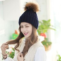 Wholesale hats for sale - Group buy Women Knitted Hats Fashion Warm Winter Fur Bobble Ball Pompom Hat Outdoor Ladies Solid Colors Skullies Beanie Caps TTA1378