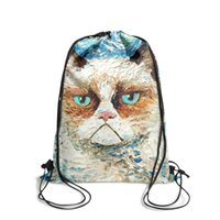 Wholesale classic girl painting for sale - Group buy Drawstring Sports Backpack grumpy cat painting Classic daily athletic Pull String Backpack
