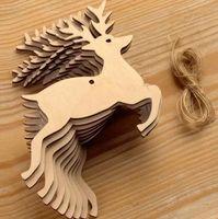 ingrosso ornamenti diy crafts-Ornamenti in legno di Natale Ornamenti in legno con fori per decorazioni artigianali fai-da-te Decorazioni per feste di Natale Spedizione gratuita