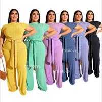 frauen hosen groihandel-2019 Frauen Zweiteiler Hosen Plus Size Baggy T-Shirt Hosenanzug Sommeranzug Reine Farbe Frauen Hosen gerade Hosen Crop Top Bund