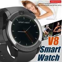 zell kreis groihandel-V8 Smart Watch Armband-Uhrenarmband mit 0.3M Kamera SIM IPS HD Full Circle Anzeige Smart Watch für Handy mit dem Kasten