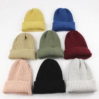 beanie hut koreanischen stil großhandel-12 farben Korean Styles Großhandel frauen männer Trendy Winter Warme Mütze Strickmütze Schädel caps Für Jungen Mädchen