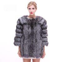 настоящий меховой мех оптовых-Luxury Autumn Winter Women's Genuine Real Silver  Fur Coat Lady Slim Jacket Outerwear Plus Size VF7048