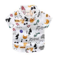 erkek gündelik gömlek giymek toptan satış-2019 yeni yaz Koreli çocuk giyim erkek çocuk gömlek çocuk çiçek rahat gömlek erkek kısa kollu hırka