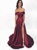 Wholesale new see through skirts resale online - 2020 New Burgundy Shoulder clipped Mermaid Evening Dresses Cap Sleeves See Through Skirt Sexy side split fiesta Prom Dresses