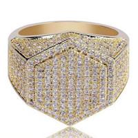 pedrería caliente al por mayor-Nuevos anillos para hombre de Hip Hop Iced out 3A Rhinestones anillos de cobre de lujo Jewlry Gold Silver Fashion Jewelry Wholesale Hot