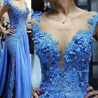 Wholesale zuhair murad dress for sale - Group buy Skirt Blue Applique Pearls Plus Size Sequins Dress Evening Wear Cap Sleeve Sheer Jewel Neck Prom Gown Lon Zuhair Murad Evening Dresses