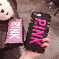 розовый чехол для мобильного телефона оптовых-Горячая вышивка 3D розовый чехлы для iPhone Xs Max Bling мягкие чехлы для iPhone XR Samsung Note9 Plus блеск чехлы для мобильных телефонов