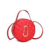 stickerei dame taschen großhandel-Modische Damentasche Neue Einzelschulter Diagonale Stickerei Stickring Damen kleine runde Tasche Leder