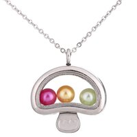 Wholesale mushrooms necklace resale online - Silver Color lovely mushroom Magnetic Glass Floating Locket Pendants Women Charms quot Necklace
