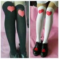 Wholesale stockings online - Heart Over Knee High Socks Colors Valentine s Day Lover Printed Stocking High Socks Party Favor pair OOA6123