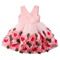 flores rosa vestido de festa venda por atacado-Hot Sales Crianças Subiu Vestido da Menina de Flor Vestidos de Meninas Da Criança Aniversário Princesa de Casamento ou Festa Pageant Formal Vestidos De Baile