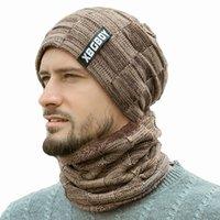bandana erkek toptan satış-Sıcak Örgü Şapka Eşarp Set Erkekler Katı Renk Sıcak Kap Atkılar Erkek Kış Açık Aksesuarları Şapka Eşarp 2 adet LJJM2368