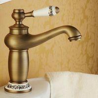 antike bronze hahngriffe großhandel-Bad Wasserhahn Antik Bronze Finish Messing Waschbecken Wasserhahn Einhand-Wasserhähne Waschbecken Wasserhähne